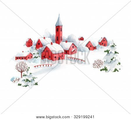 Watercolor Winter Snowy Christmas Time Red House Town Landscape Scenery