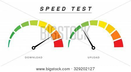 Speed Test Internet Measure. Speedometer Icon Fast Upload Download Rating. Quick Level Tachometer Ac