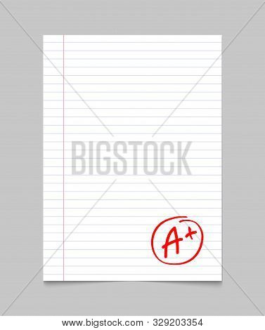 Grade Result A Plus. Hand Drawn Vector Grade A Plus In Red Circle. Test Exam Mark Report