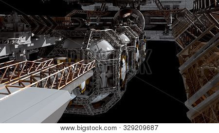 3d Detailed Close-up Of A Space Station For Futuristic Interstellar Travel Or Science Fiction Backgr