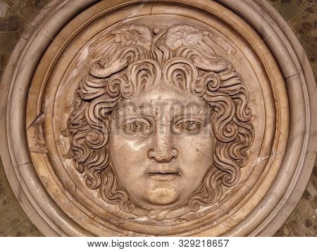 Medusa face sculpture. Head portrait of MedusaIn Greek mythology Medusa was a monster, a Gorgon, a winged human female with a hideous face and living venomous snakes in place of hair.