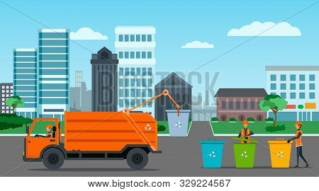 City Waste Recycling Concept With Garbage Truck, Garbage Collector And Garbage Men On City Landscape
