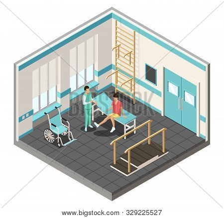 Isometric Physiotherapy Rehabilitation Poster With Wheelchair, Parallel Walking Bars, Rehabilitation