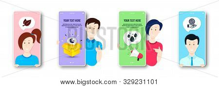 Mint Leaves, Cashew Nut And Rainy Weather Icons Simple Set. People On Phone Screen. Safe Planet Sign