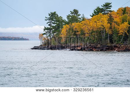 Apostle Islands National Lakeshore Along Lake Superior In Wisconsin During Fall Color Season On Over