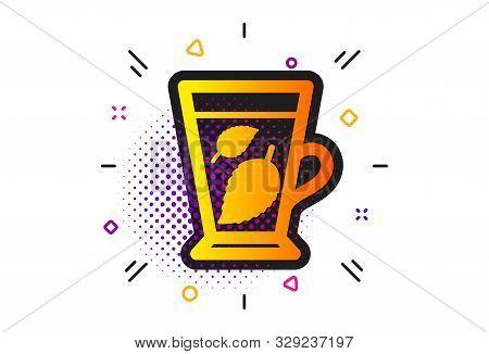 Fresh Herbal Beverage Sign. Halftone Circles Pattern. Mint Tea Icon. Mentha Leaves Symbol. Classic F