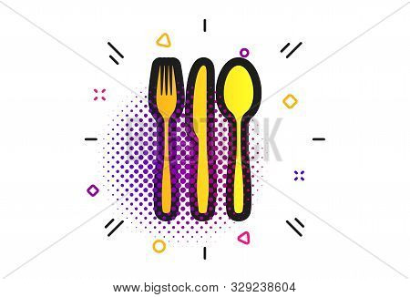 Fork, Knife, Tablespoon Sign Icon. Halftone Dots Pattern. Cutlery Collection Set Symbol. Classic Fla