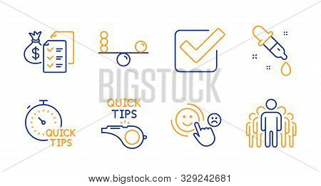 Tutorials, Quick Tips And Accounting Wealth Line Icons Set. Checkbox, Customer Satisfaction And Chem