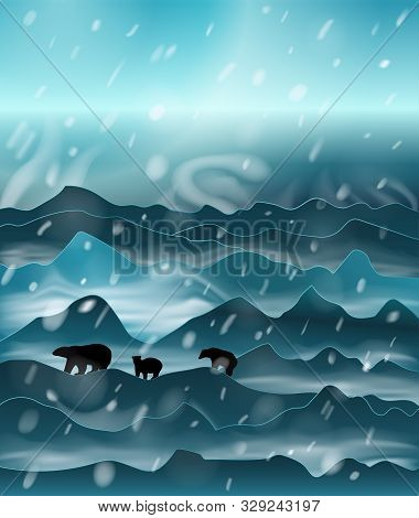 The Family Of Polar Bears Walking At Night In The Snowstorm