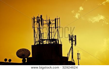 Satellite Dishes Over Sunset
