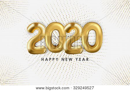 2020 Text Balloons With Ribbons Scattered On A White Background. New Year 2020. Creative Concept Des