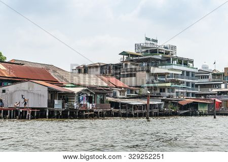 Bangkok City, Thailand - March 17, 2019: Chao Phraya River. Riva Modern Up To Date Architectural Riv