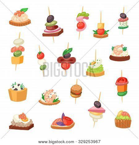 Appetizer Vector Appetizing Food And Snack Meal Starter Canape Appetiser Sandwich Illustration Set O