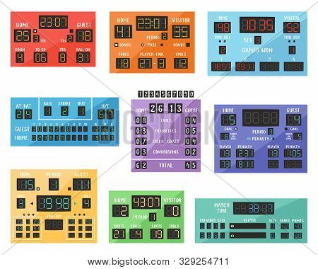 Scoreboard Vector Digital Score Board Display Football Soccer Sport Team Match Competition On Stadiu