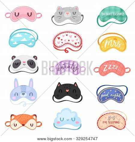 Eye Mask Vector Sleeping Night Accessory Blindfold Relax In Traveling Illustration Nighty Set Of Fac