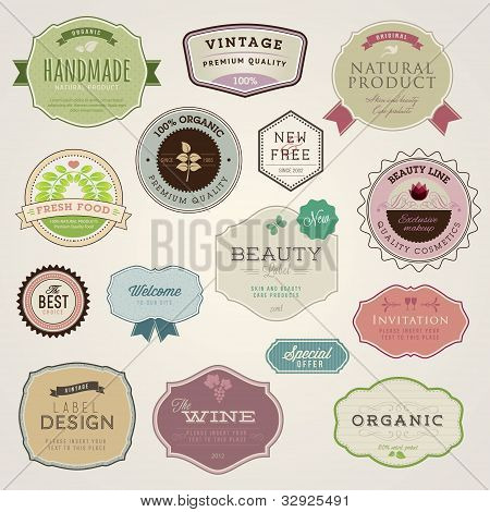 Set of vector labels and stickers for cosmetics, spa, food and drink, healt care poster