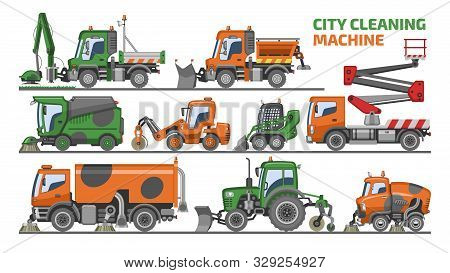 City Cleaning Machine Vector Vehicle Truck Sweeper Cleaner Wash Roads Streets Illustration Set Of Ex