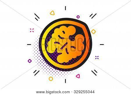 Tasty Nut Sign. Halftone Circles Pattern. Walnut Icon. Vegan Food Symbol. Classic Flat Walnut Icon.