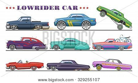 Car Vector Vintage Low Rider Auto And Retro Old Automobile Transport Illustration Set Of Classic Low