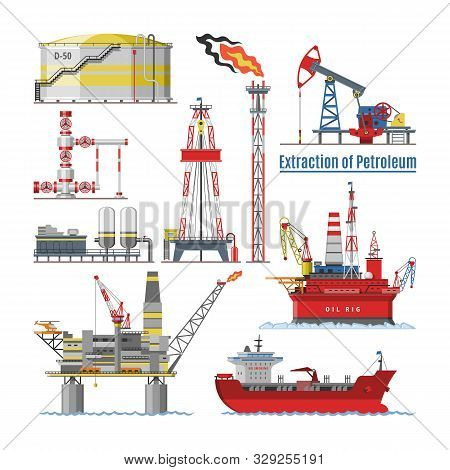 Oil Industry Vector Oily Products Oiled Technology Producing Drilling Fuel Petrol Petroleum Pump Oil