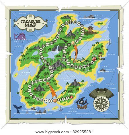 Treasure Map Vector Pirate Adventure On Island Navigation In Ocean Illustration Backdrop, Piratic Pl