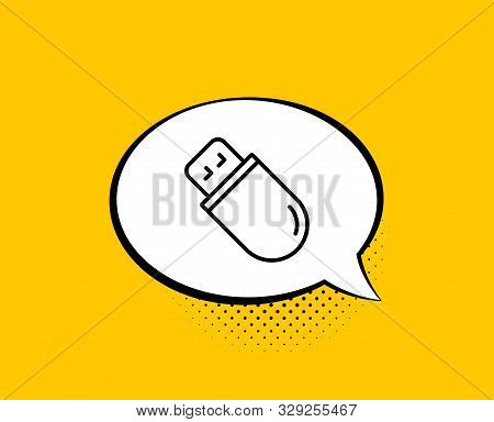 Usb Stick Line Icon. Comic Speech Bubble. Computer Memory Component Sign. Data Storage Symbol. Yello