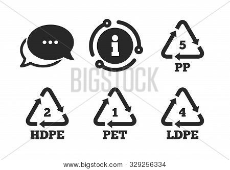 High-density Polyethylene Terephthalate Sign. Chat, Info Sign. Pet 1, Ld-pe 4, Pp 5 And Hd-pe 2 Icon
