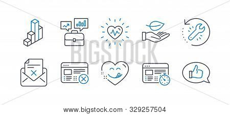 Set Of Business Icons, Such As Heartbeat, Reject Web, Business Portfolio, Yummy Smile, Recovery Tool
