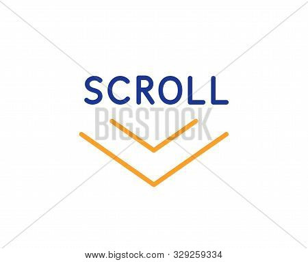 Scrolling Screen Sign. Scroll Down Arrow Line Icon. Swipe Page. Colorful Outline Concept. Blue And O