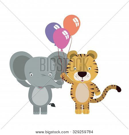 Cute Little Elephant And Tiger With Balloons Helium Vector Illustration Design