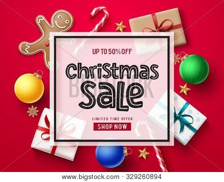 Christmas Sale Vector Banner Template. Christmas Holiday Season Sale Text In White Frame With Xmas E