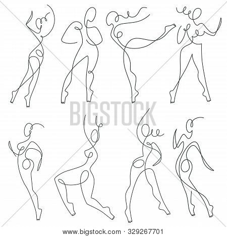 Continuous Line Drawing, Female Silhouettes In Move, Dancers