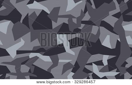 Geometric Camouflage Seamless Pattern. Abstract Modern Camo, Black And White Modern Military Texture