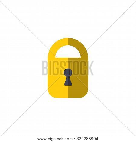Padlock Icon. Protection Symbol. Door Lock Vector Icon. Door Castle For House Icon. Door Lock For St