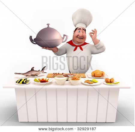 Cute Chef walking with non-veg dish