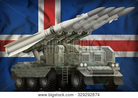 Tactical Short Range Ballistic Missile With Arctic Camouflage On The Iceland Flag Background. 3d Ill