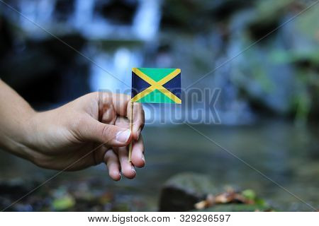 One´s Hand Holds National Symbol Of Jamaica. Flag Of Jamaica In Water Environment. Brown Hand Of You