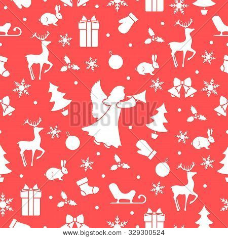 Merry Christmas Happy New Year 2020 Background. Vector Seamless Pattern With Angel, Santa Claus Rein