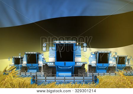 Many Blue Farming Combine Harvesters On Rural Field With Estonia Flag Background - Front View, Stop