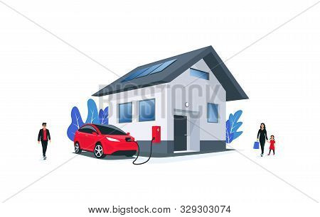 Family Electric Car Charging At Home On Wall Box Charger