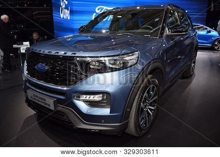 Frankfurt, Germany, September 09-2019: Ford Explorer Plug-in Hybrid Iaa 2019