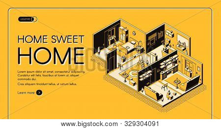 House construction company dwelling place configuration service isometric web banner. Residence, apartment rooms cross section plan illustration. Interior design atelier landing page template poster
