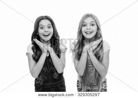 Such A Surprise. Sincere Excitement. Kids Girls Long Healthy Shiny Hair Wear Casual Clothes. Little