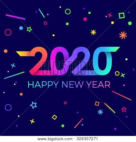 2020 Happy New Year. Paper Memphis Geometric Bright Style For Holidays Flyers, Greetings, Invitation