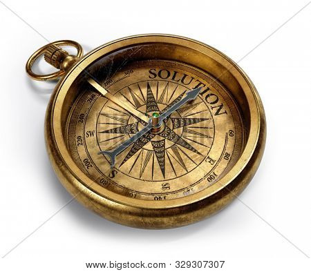 Vintage brass compass isolated on white background 3d rendering