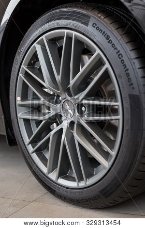 Russia, Izhevsk - October 10, 2019: Hyundai Showroom. The Wheel With Alloy Wheel Of A New Genesis G7