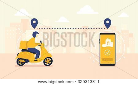 Food Delivery Service By Scooter With Courier. Mobile Application Tracking A Delivery Man On A Moped