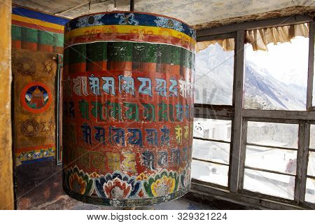 Jammu Kashmir, India - March 21 : Big Prayer Wheels In Diskit Monastery Or Deskit Gompa For Tibetan