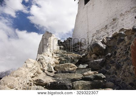 Stone Stairs Steps Up Approach To Diskit Monastery Galdan Tashi Chuling Gompa In Hunder Or Hundar Vi