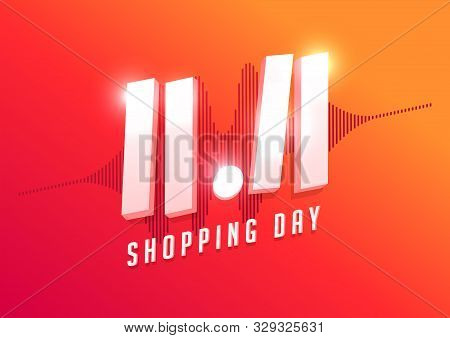 11.11 Shopping Day Sale Poster Or Flyer Design. Global Shopping World Day Sale On Colorful Backgroun